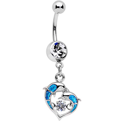 Body Candy Womens 14G Steel Navel Ring Piercing Clear Accent Glitter Double Dolphin Dangle Belly Button Ring