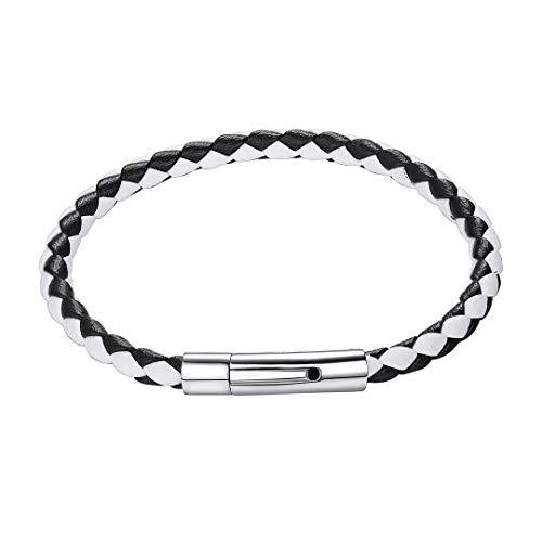 ChainsHouse 5mm breit Sibler 20cm lang Armband Herren Männer Leder Edelstahl Schwarz Weiß Geflochten mit Magnet Verschluss