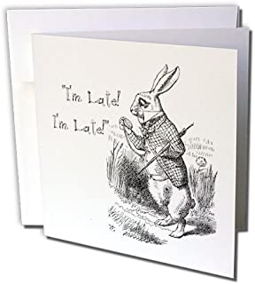3dRose Alice in Wonderland White Rabbit Im Late - John Tenniel Illustration, Greeting Cards, Set of 6 (gc_193791_1)