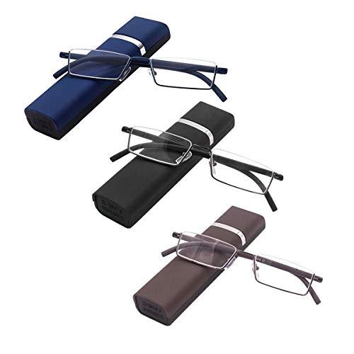 3 stueck Lesebrille mit Ultraleichtem TR90 Rahmen Lesehilfe Halbbrille aus Metallrahmen mit Halbrahmen Sehehilfe mit Brillenetui für Damen und Herren +2.0