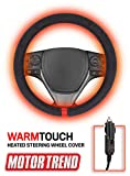 Motor Trend SW2311 Red WarmTouch 12v Heated Steering Wheel Cover – DC Powered Hand Warmer with Automated Thermostat, Universal Fit for Car Truck Van and SUV
