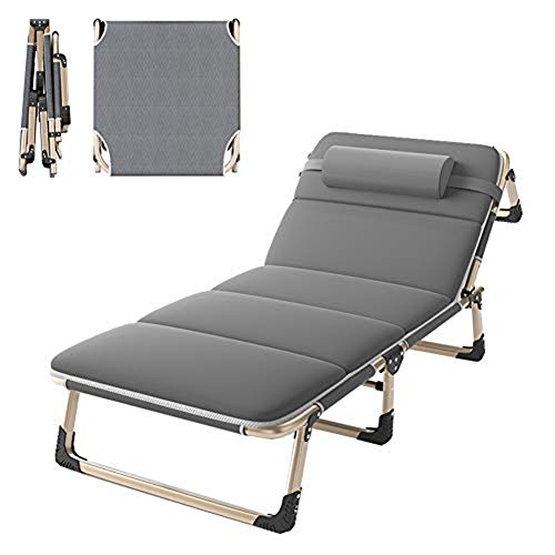 QSXF Tripod lounger, weatherproof aluminum frame deck chair, foldable garden lounger with cushions Sun lounger 5 times adjustable C,C