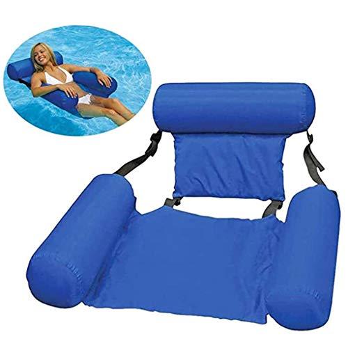 YMXYMM Aufblasbarer Pool Float Lounge,Sommer Faltbare schwimmende Reihe,Pool Wasser Hängematte Luftmatratzen Bett Strand Wassersport Liegestuhl,Blue