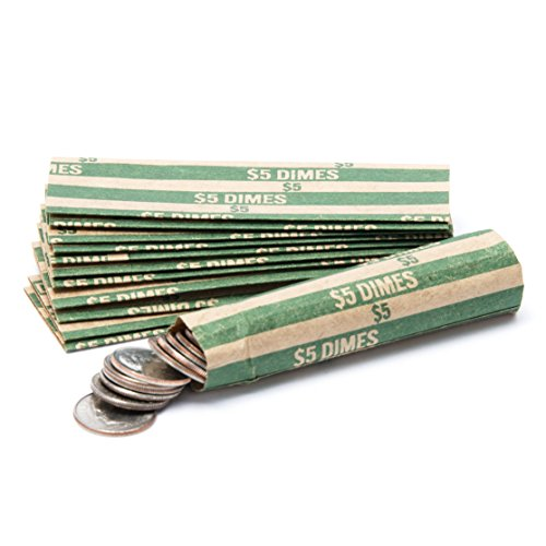Dime Coin Wrappers, 1,000 Flat Striped Coin Wrappers/Coin Rolls for Dimes