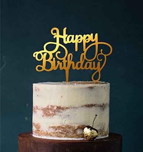 Manschin Laserdesign Cake Topper, Happy Birthday, Tortenstecker Geburtstag, Tortefigur Acryl, Farbwahl - (Spiegel Gold (Einseitig)) Art.Nr. 5054