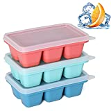 KIYOKI Ice Cube Trays 3 Pack - Mini Ice Cube Trays with Easy-Release Silicone Bottom, Stackable Small Ice Cube Molds with Lid for Freezer, Cocktail