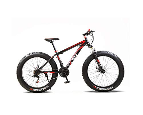 Senza Marchio Mens Fat Tire Mountain Bike, 26-Inch Wheels, 4-Inch Wide Knobby Tires, 21-Speed, Steel Frame, Front and Rear Brakes (Carbon-Steel)