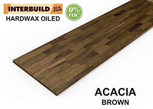 Interbuild Encimeras de Cocina de Madera Maciza de Acacia, 2200x635x26 mm, marrón, 1 Pieza/Paquete