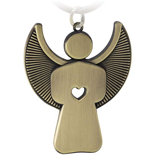 FABACH Schutzengel Schlüsselanhänger Pikto mit Herz - Edler Engel Anhänger aus Metall in mattem Bronze - Geschenk Glücksbringer Auto Führerschein - Fahr vorsichtig