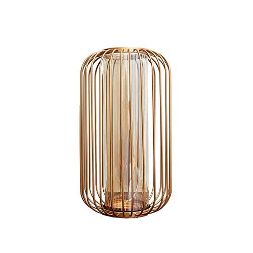 Maceteros de interior Jarrón de cristal transparente Linterna de oro Marco de hierro Inicio Mesa de comedor Oficina Oficina Decoración de escritorio Decoración Regalo Regalo Paletas para DecoracióN de