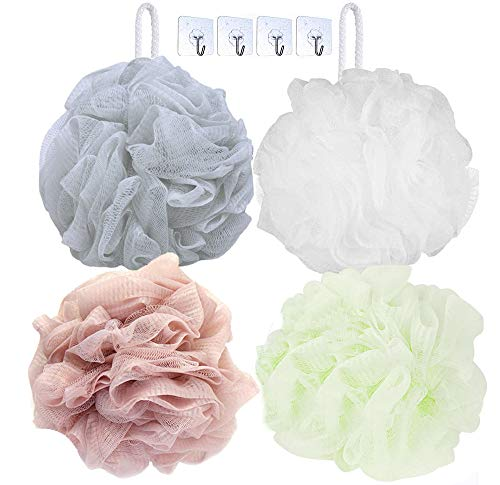 Bath Shower Sponge Loofahs & Hooks Set (Pack of 8), Large 60g Mesh Pouf Shower Ball, Nature Bamboo Charcoal Soft Body Scrubber Exfoliating for Silky Skin, Full Cleanse, Rich Lather (4 Loofahs+4 Hooks)