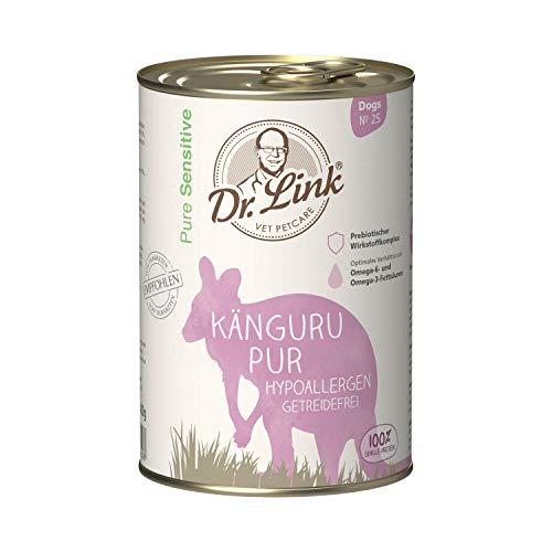 Dr. Link Pure Sensitive Känguru pur | hypoallergen | getreidefrei |6 x 400 g | Nassfutter für Hunde