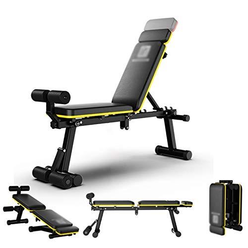 Panca per Pesi Pieghevole Home Sit-up Sedia per Fitness Panca Multifunzione Angolo Regolabile (Color : Yellow, Size : 54-80cm)