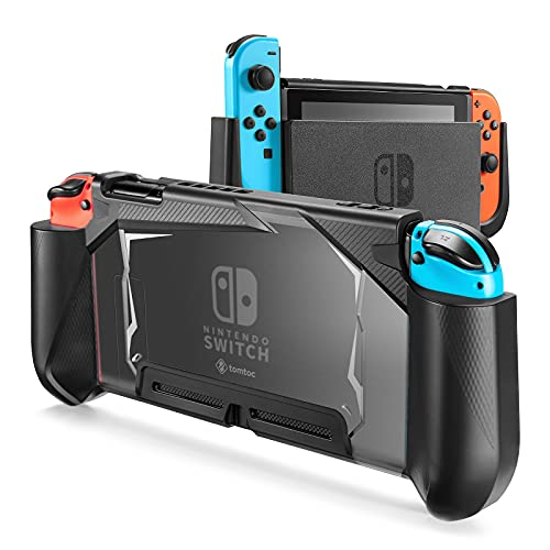 tomtoc Funda Acoplable para Nintendo Switch, Carcasa Protectora de Agarre Ergonómico y Desmontable para Mando Contralador Joy-Con, Estuche a Prueba de Golpes y Rayones, Negro