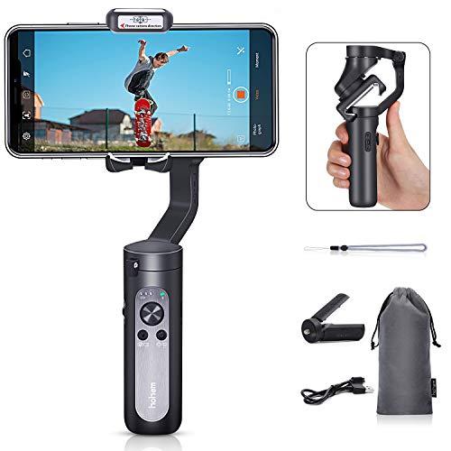 hohem iSteady X, Faltbarer 3-Achsen-Gimbal Stabilisator Taschenformat mit Moment- / Schönheitsmodus für iPhone 11 / Pro/Max/SE- und Android-Smartphones (259G, Schwarz)