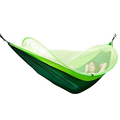 JGWHW Camping hamac avec Moustique Net, Tissu de Parachute Camping hamac hamac en Nylon Portable pour Le Tourisme de randonnée, Double hamacs Simples pour Le Camping (Couleur : Vert)