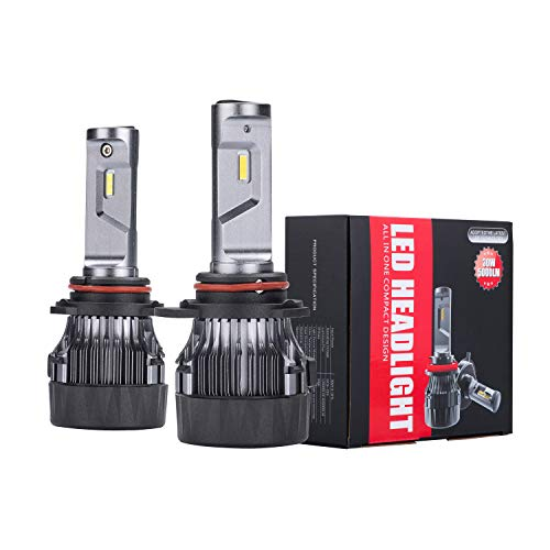 Alla Lighting S-HCR 10000 Lumens HIR2 9012 LED Headlights Bulbs Extremely Super Bright 6000K ~ 6500K Xenon White Dual Hi/Low Beam All-in-One Conversion Kits Headlamps Replacement