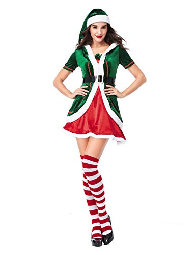GRACIN Womens Christmas Elf Costume Adult, Sexy Santa's Helper Cosplay Party Fancy Dress(Medium, Green)