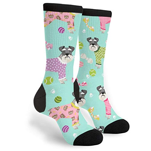 Schnauzers In Jammies Unisex Novelty Crew Socks Casual Funny Crazy Dress Socks Gift