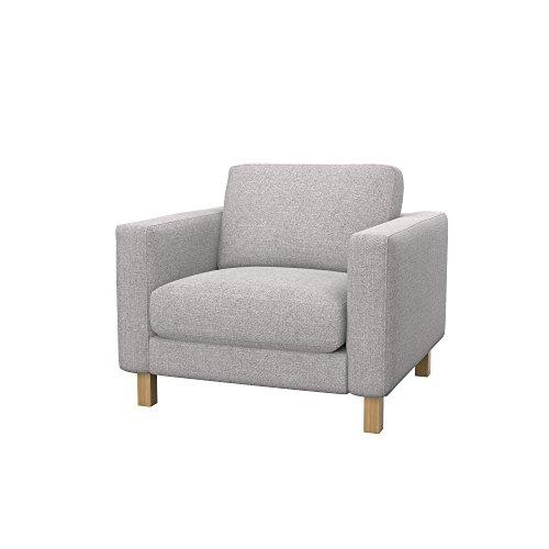 Soferia Bezug fur IKEA KARLSTAD Sessel, Stoff Naturel Lilly Beige