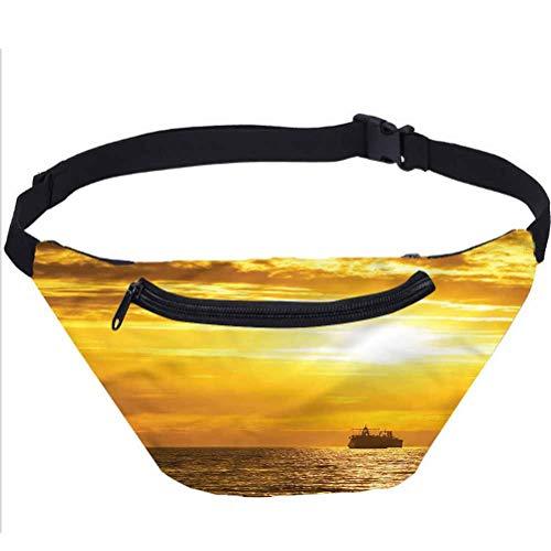 Nautical Travel Fanny Bag,Ship on Ocean Sunrise Waist Pack for Women Men Kids