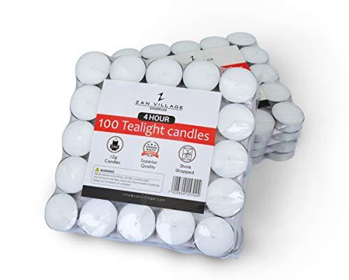 Zan Village Homeware - Velas de té de 4 horas de duración, 12 g, paquete de 100 unidades