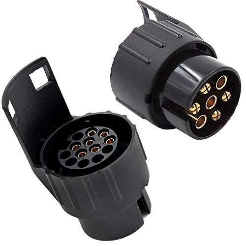 13 auf 7-polig Adapter Stecker,Nach ISO 11446 und ISO 1724,für 12 V Hänger Systeme, Steckverbindung Anhänger zu Auto,für KFZ Anhänger, Adapter Stecker Anhänger