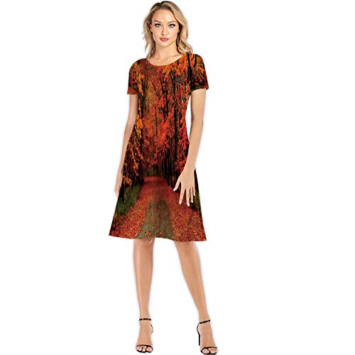 The Road Covered with Autumn Leaves Edmonton,Custom Lady Dress Elegant Dresses Bismarck - North Dakota S