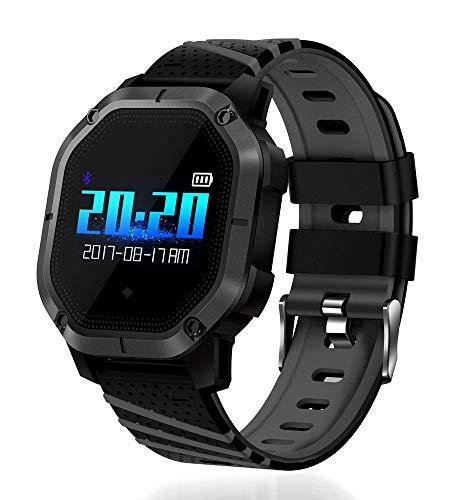 CZZ Waterdicht sporthorloge, IP67-activiteitstracker bloeddruk-intelbare armband, hartslag-fitnessarmband, waterdicht, met stopwatch sport-GPS-pedometer, zwart
