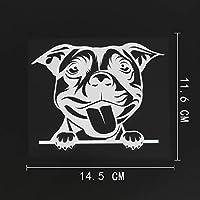 アウトドア ステッカー 14.5CMX11.6CMかわいいブルテリア犬チラッと覗くデカールビニール車ステッカーブラック/シルバー アウトドア ステッカー (Color Name : Silver)