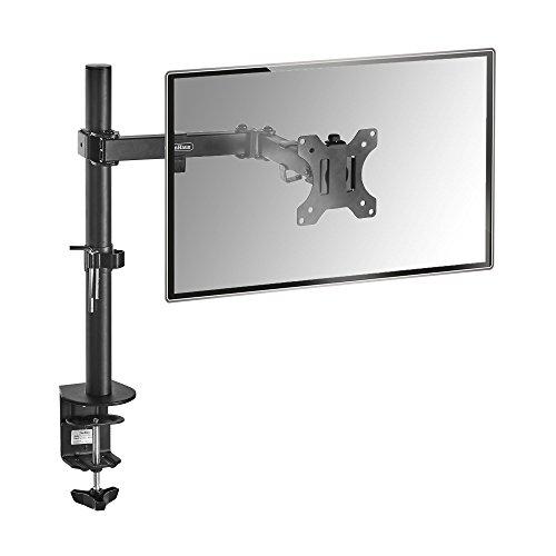 "VonHaus Monitor Mount for 13-32"" Screens - Single Arm Desk Stand Bracket with Clamp - Ergonomic 180° Tilt, 360° Rotation & 360° Swivel Arm - VESA Dimensions: 75x75-100x100"