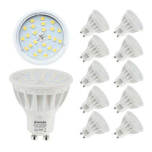 5W GU10 LED Lampe Ersetz 50W Kaltes Weiß 6000K Nicht Dimmbar 600LM RA85 120°Abstrahlwinke,10 Pack.