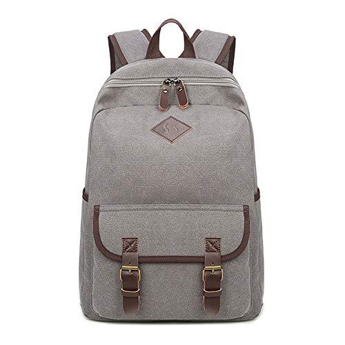LOKIH Zaino Uomo Donne Zaini Tela Zainetto Borsa A Tracolla di Sacchetto del Messaggero Messenger Bag Backpack,Light Gray