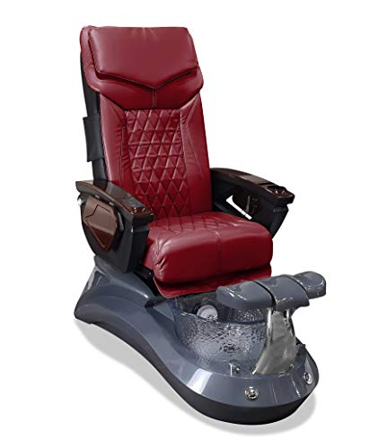 LOTUS II 18 LX Shiatsulogic Pedicure Chair Grey-Crystal w/Discharge Pump Stylish Pedicure Tub with Pipe-less Whirlpool System Perfect for All Pedicure Spa, Deep Red