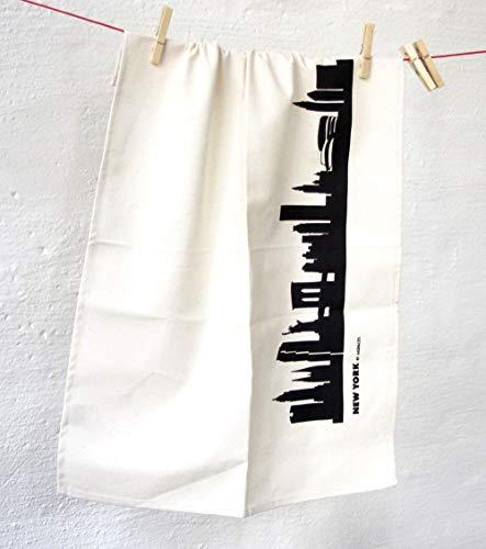 New York City Skyline Küchentücher Stadt Design schwarz, 50x70 cm Reine Baumwolle (Bio), Geschirrtücher für Exil New Yorker & Fans der Freiheitsstatue, Geschenkidee Geburtstag Grill-Saison