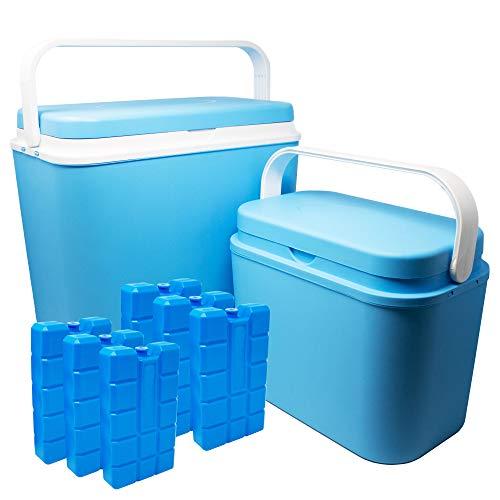 ToCi 2er Set Kühlboxen | Passive Kühl-Box mit 10 Liter und 24 Liter | Camping Kühltaschen in Blau-Weiß mit 6 Kühlakkus (400 ml)