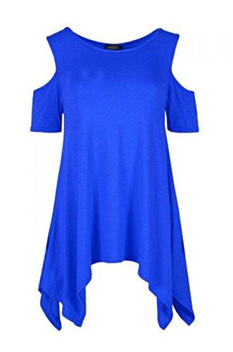 Cold-shoulder tuniek voor dames - hemdje - swing-stijl/wijd uitlopend/ruimvallend/oversized - zakdoekzoom