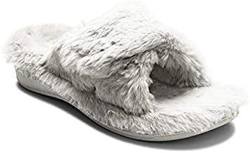 Vionic Women's Indulge Relax Plush Slipper - Adjustable Slipper with Concealed Orthotic Support Light Grey 10 Medium US
