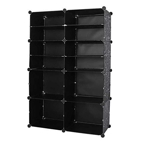 Ausla Zapatero zapatero con 8 estantes, de resina PP + acero, zapatero para bricolaje, fácil de montar y desmontar, con orificios de la puerta para la circulación del aire