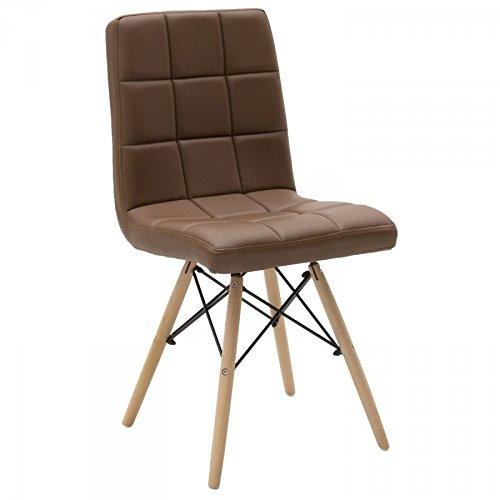 Chaise design moderne en simili cuir et pieds en hêtre - Marron