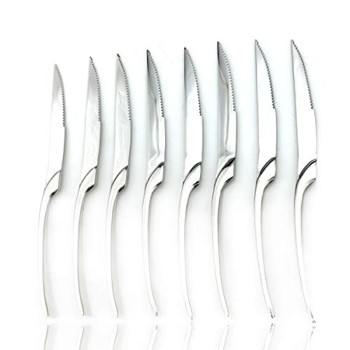 JASHII 1810 Stainless Steel 8 Piece Mirror Polished Silver Steak Knife Silverware Utensil Set