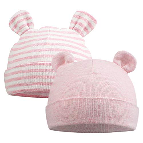 Original Cotton Newborn Beanies Striped Cute Baby Hat for Boys Girls Bear Ears Infant Beanie 2-Pack (Bear(Pink+Pink Striped))