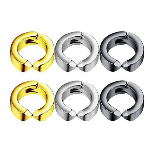 Nuobesty - 3 pares de pendientes no penetrantes con clip, falsos aros para las orejas para las mujeres y los hombres de acero (oro negro)