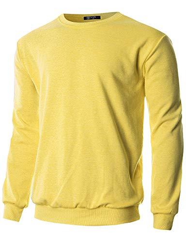 GIVON Mens Regular Fit Lightweight Crew Neck Sweatshirt/DCS005-YELLOW-M