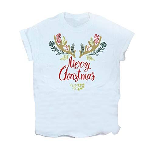 Vectry Damenhemden Mode Bluse Rundhals Tops Kurzarm Pullover Weihnachten Brief Rentier Weihnachten Elch Muster Casual Party Karneval Boden Tunika Weiß L