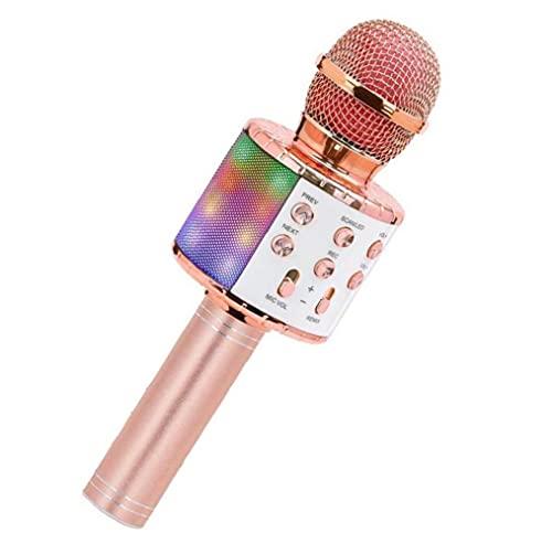 Auriculares y auriculares Altavoz portátil con micrófono inalámbrico de micrófono Micrófono portátil Player Player Player Canto con luces LED Rosy Golden