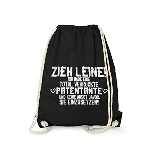 Fashionalarm Turnbeutel - Zieh Leine, ich Habe eine verrückte Patentante | Fun Rucksack mit lustigem Spruch Geschenk Idee Patenkind Patenschaft, Schwarz One Size