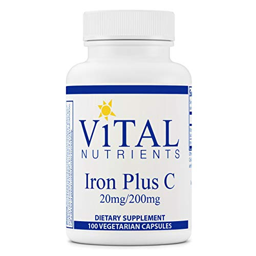 Vital Nutrients - Iron Plus C - Supports Healthy Cognition and Energy Levels for Women and Men - 100 Vegetarian Capsules per Bottle - 20 mg / 200 mg