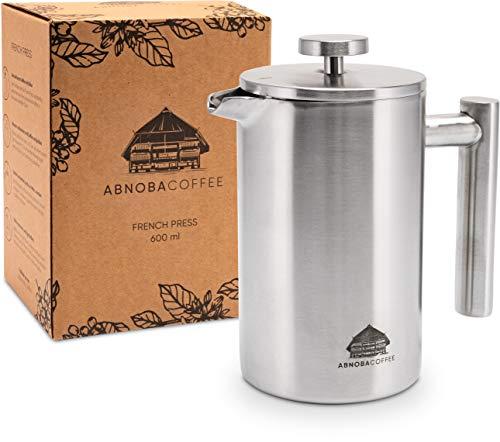 ABNOBACOFFEE French Press Edelstahl | doppelwandig isoliert| Kaffeepresse | Kaffeebereiter inkl. 3 Ersatzfilter (0,6 Liter)