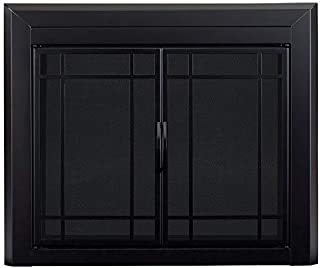 Pleasant Hearth EA-5012 Easton Black Firescreen Large Fireplace Glass Door, Gunmetal